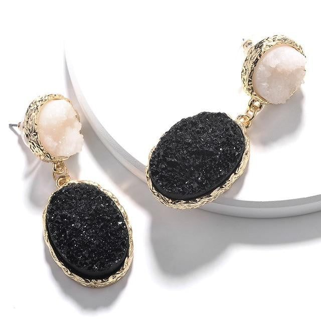 New Geometric Charm Drop Earrings | Trendy Statement Jewelry | Black Acrylic Simulated Stone - klozetstyle.com