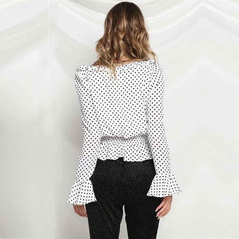 Long Lantern Sleeve Polka Dot V neck Lace Up Top - klozetstyle.com