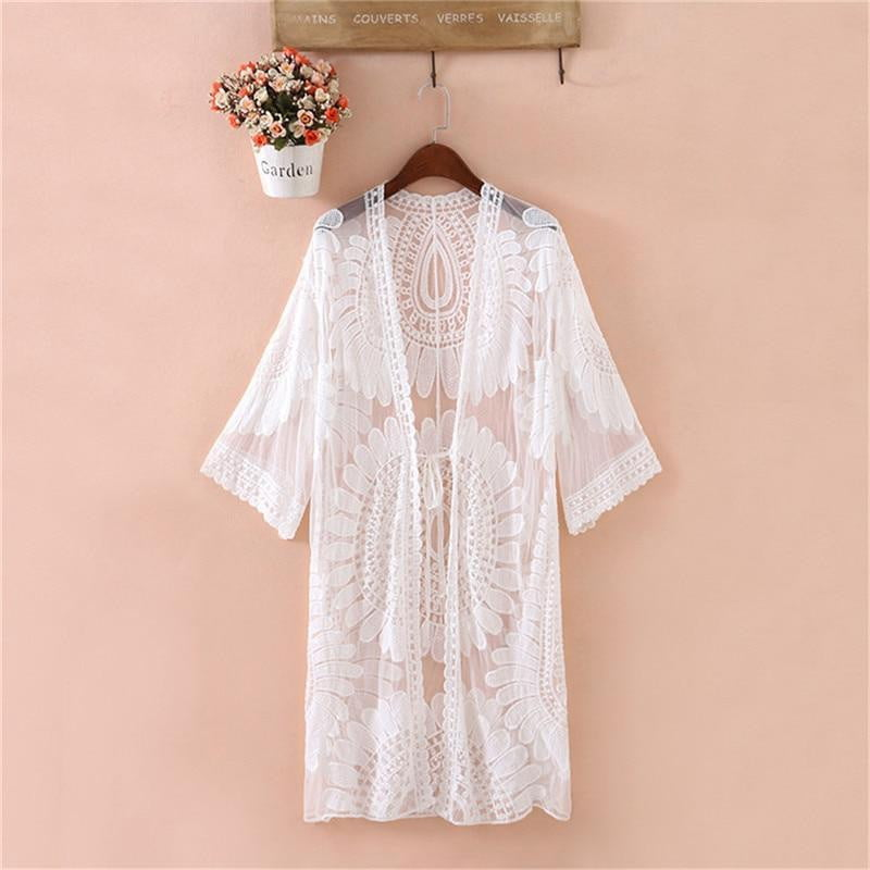 Floral Embroidery Robe Cardigan Beach Cover Up - klozetstyle.com