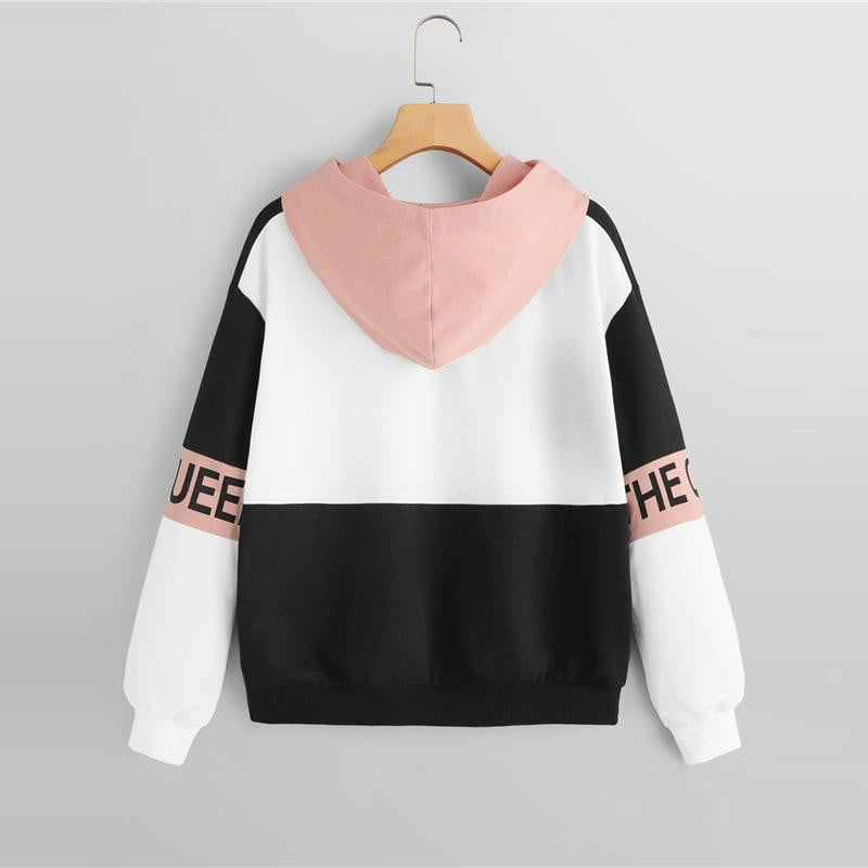 Color Block Letter Print Pullovers Hooded - klozetstyle.com