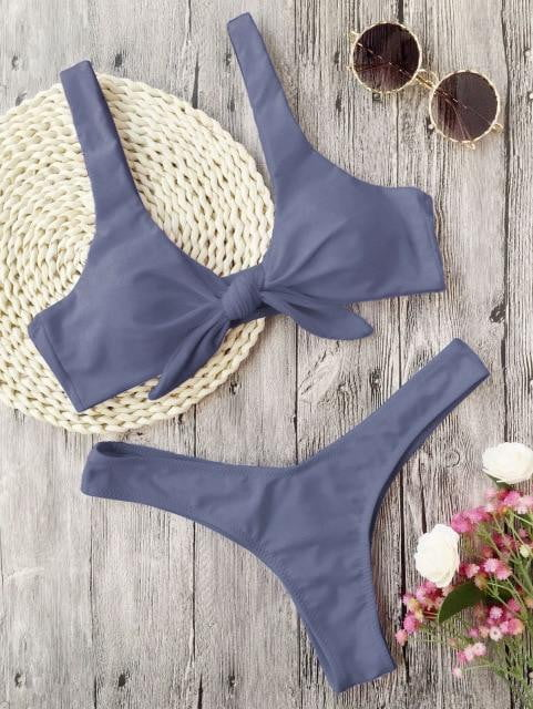 2-Piece Knotted Scoop Neck Bathing Suit - klozetstyle.com