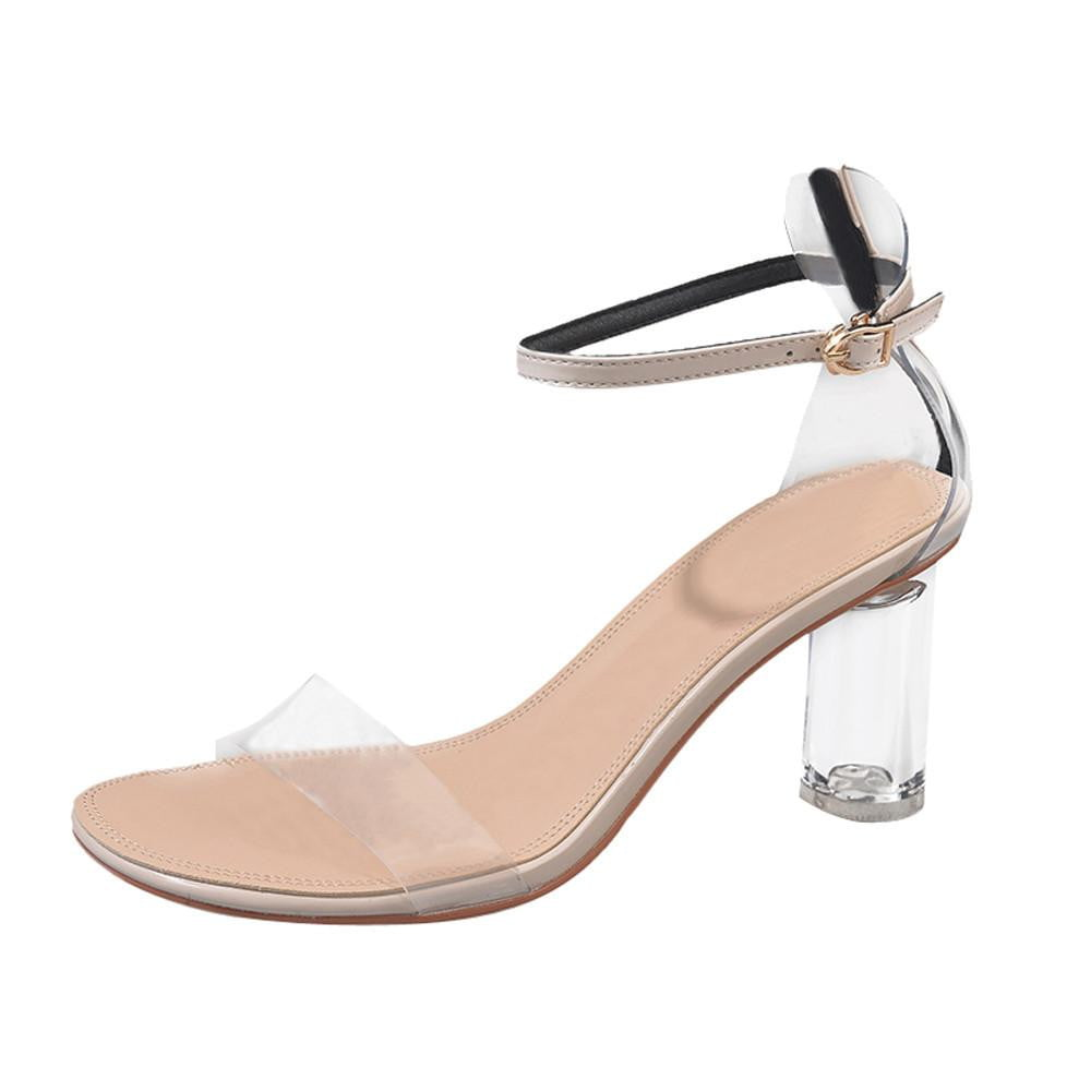 Transparent Ankle High Heels Open Toe Shoes - klozetstyle.com