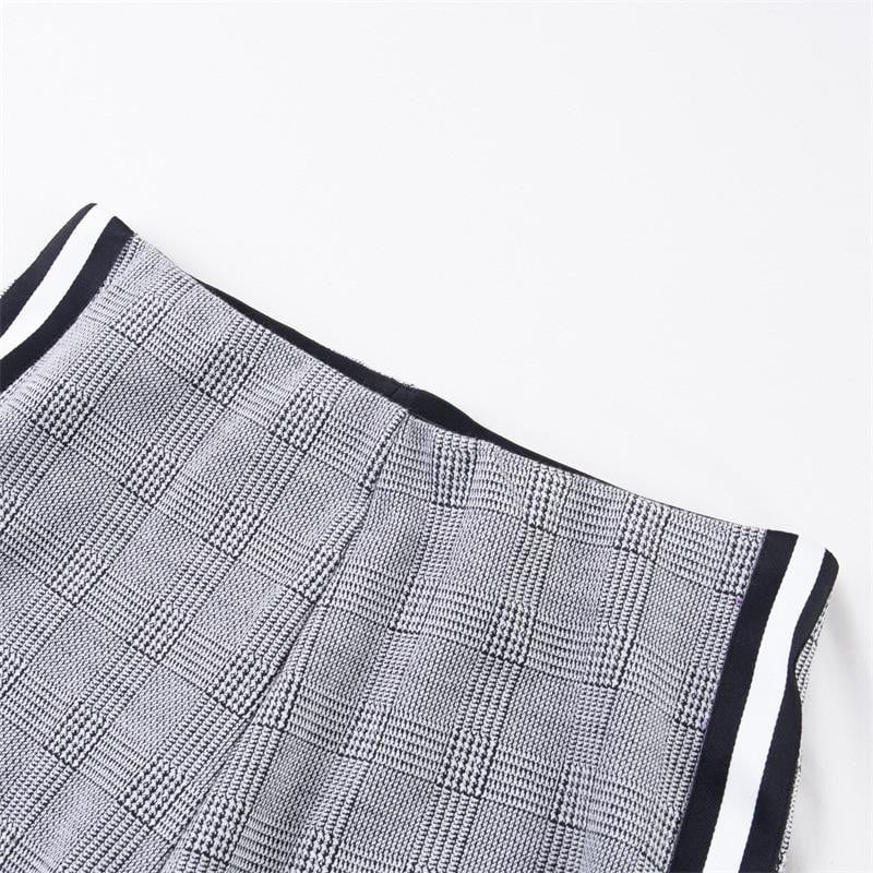 Elastic Stretchy Side Striped Plaid Pants - klozetstyle.com