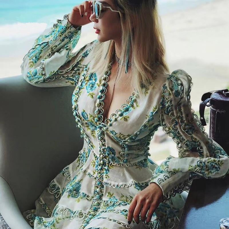 Europe Runway Designer High Quality Puff Sleeve Sexy V-neck Floral Printed Embroidery Button Resort Dress - klozetstyle.com