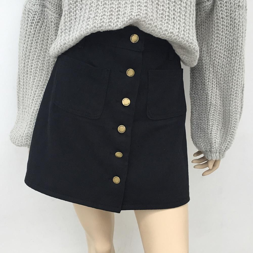 A-line Button Denim Skirt - klozetstyle.com