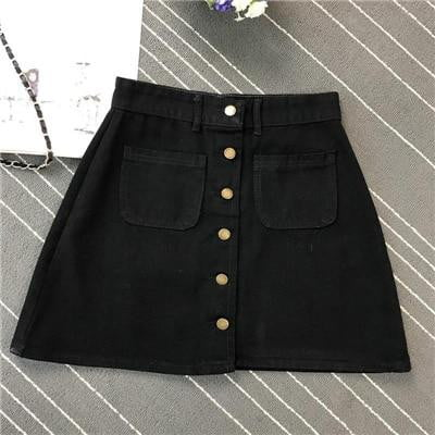 Klozetstyle A-line Button Denim Skirt | klozetstyle.com.