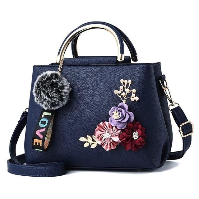 Rivets Bag With Fur Ball - klozetstyle.com