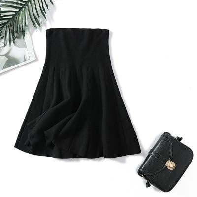 Knitted Pleated Elastic Flared Midi Skirt - klozetstyle.com