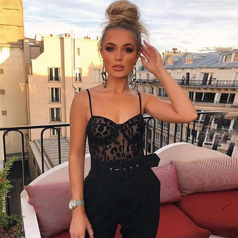 Black Lace Sleeveless Backless Sling Perspective Mesh Bodysuits