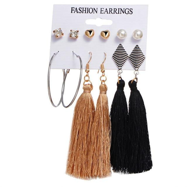 Tassel Stud Earrings Set - klozetstyle.com