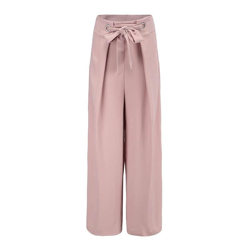 Klozetstyle Loose Wide Leg High Waist Belt Bow Tied Straight Trousers | klozetstyle.com.