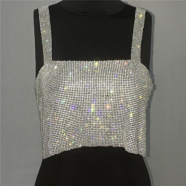 Glitter Backless Rhinestone Metal Crystal Diamonds Sequined Crop Top - klozetstyle.com