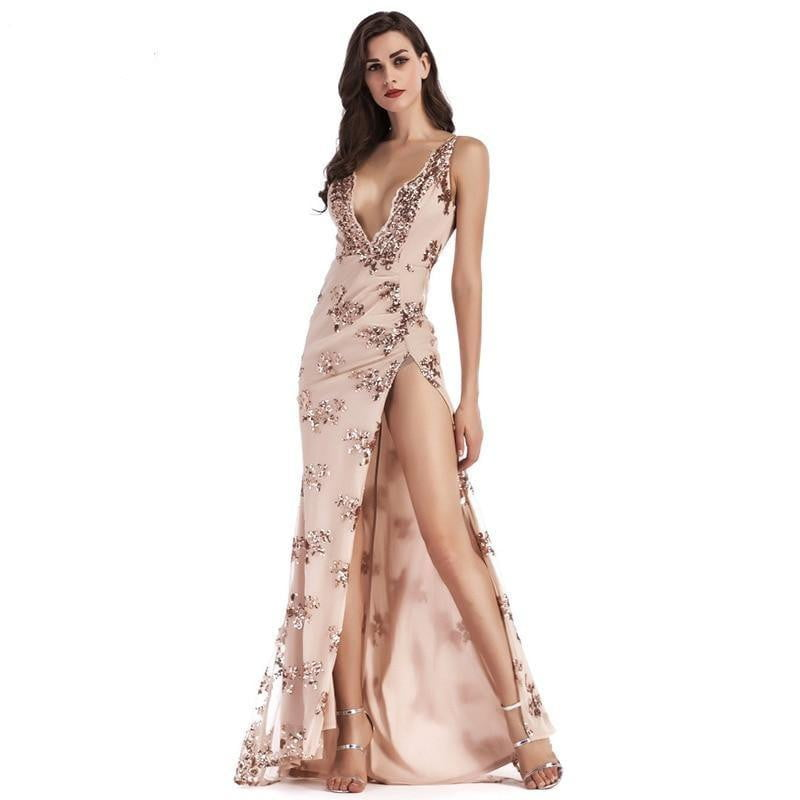 Deep V-neck Sequin Backless Maxi Evening Dress - klozetstyle.com