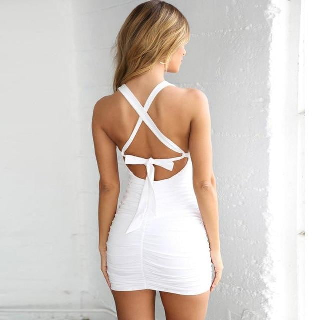 Slim hollow out sleeveless crisscross back bodycon party mini dress - klozetstyle.com