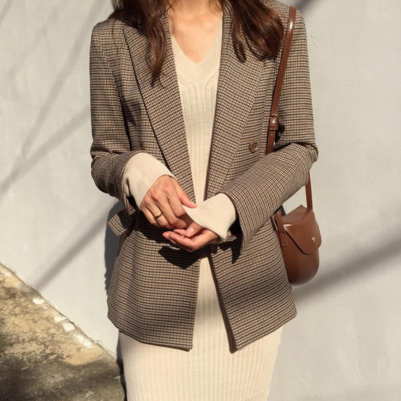 Double Breasted Long Sleeve Loose Hounds tooth Suit Plaid Blazer Jacket - klozetstyle.com