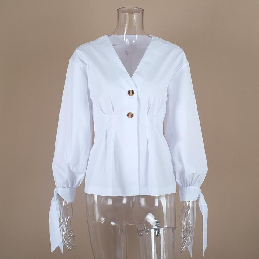 Long Sleeve White Tunic Slim Office Blouse Tops - klozetstyle.com