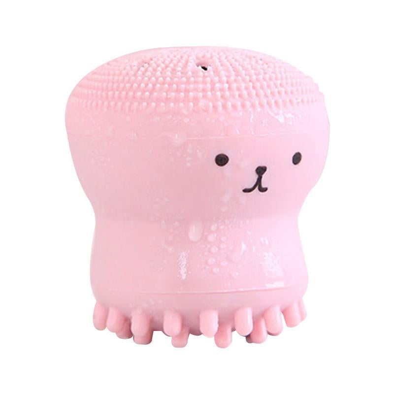 1Pc Pink Jellyfish Shaped Silicone Face Cleaner Brush - klozetstyle.com
