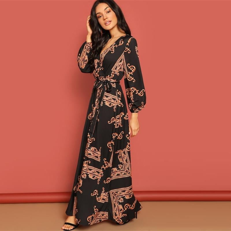 V Neck Scarf Print Belted Wrap Maxi Dress - klozetstyle.com