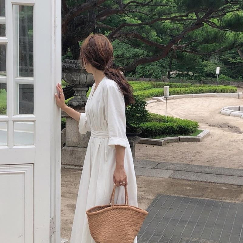 Korean Style Casual Ankle-Length Autumn Belt Dress - klozetstyle.com