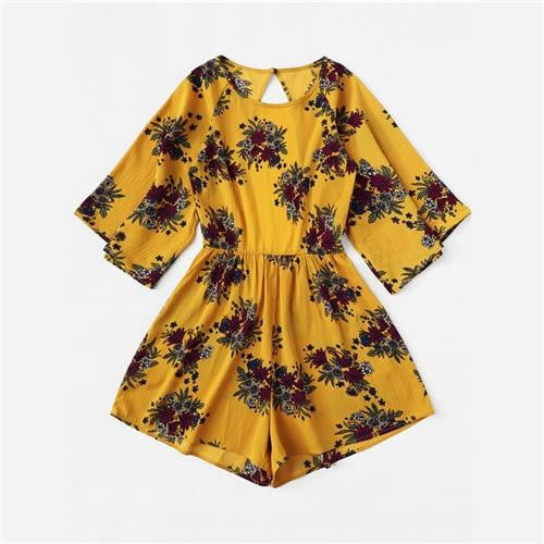 Mustard Cut Out Back Floral Print Romper - klozetstyle.com