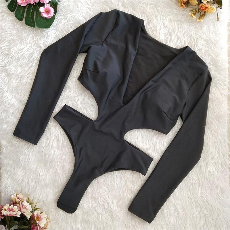Long sleeve high waist backless swimsuit - klozetstyle.com