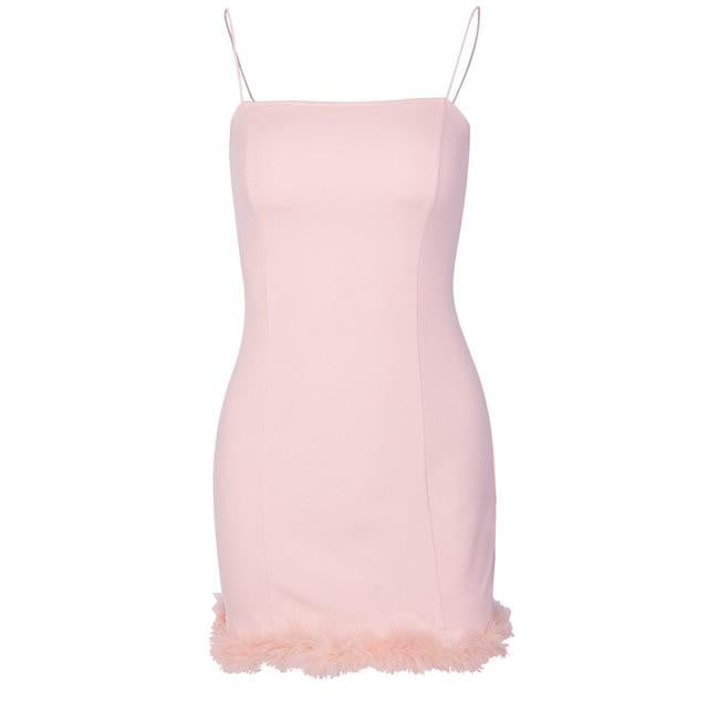 Spaghetti Strap Fur Sheath Bodycon Party Dress - klozetstyle.com