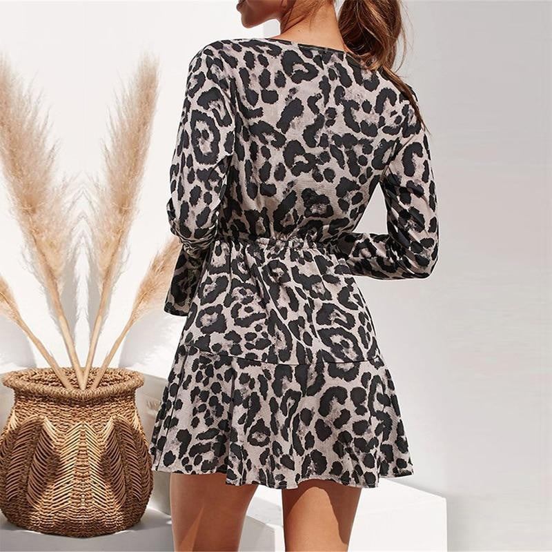 Chiffon Leopard Print Casual Ruffle Long Sleeve A-line Mini Party Dress - klozetstyle.com
