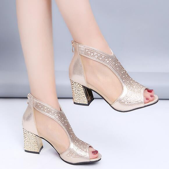 Leather Diamond Square Heel Wedding Shoes - klozetstyle.com
