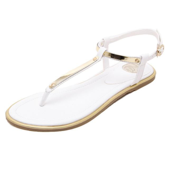 Thin belt flat sandals - klozetstyle.com