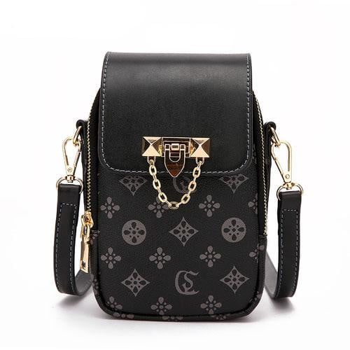 PVC Leather Floral Chains Mini Crossbody Bag - klozetstyle.com