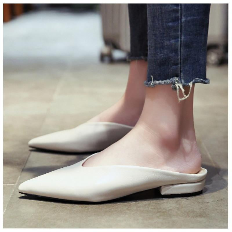 PU Leather Pointed Toe Slip On Flat Shoes - klozetstyle.com
