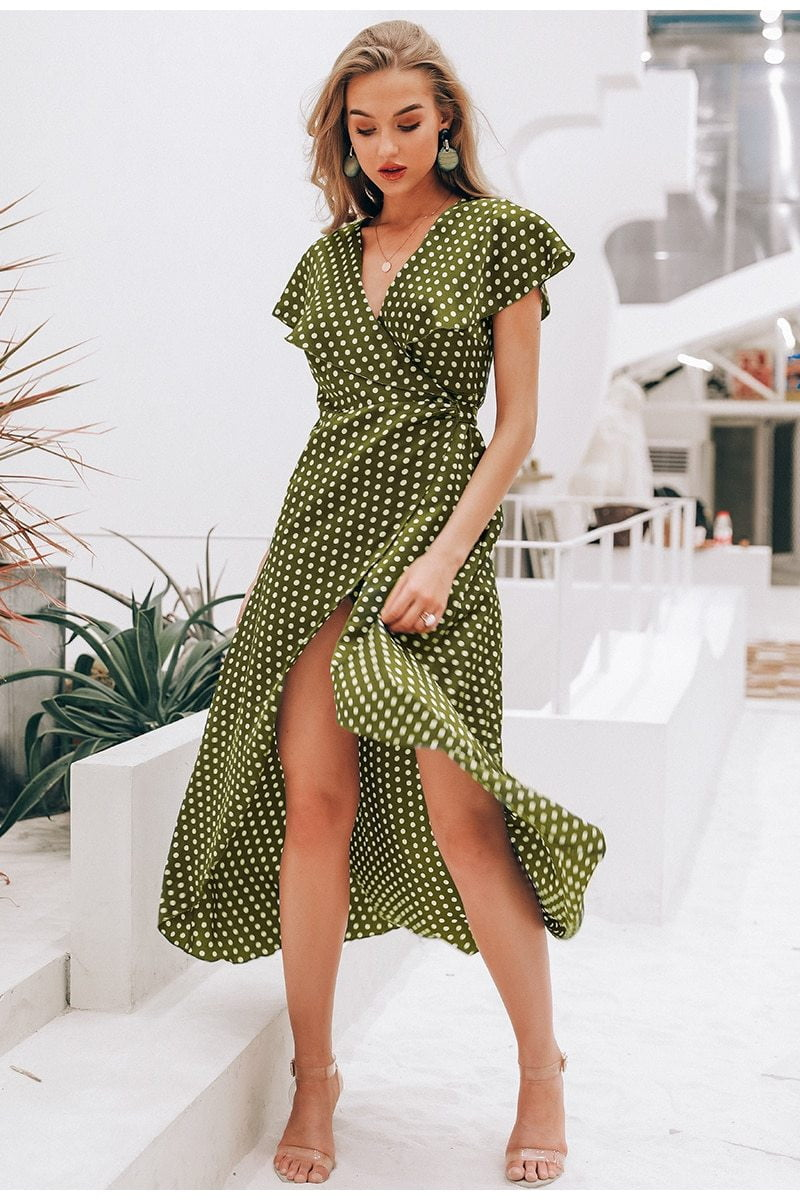Dots print satin long dress - klozetstyle.com