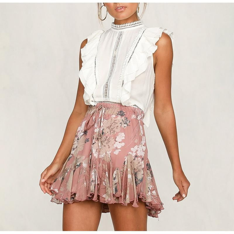 Ruffle pleated floral skirt - klozetstyle.com