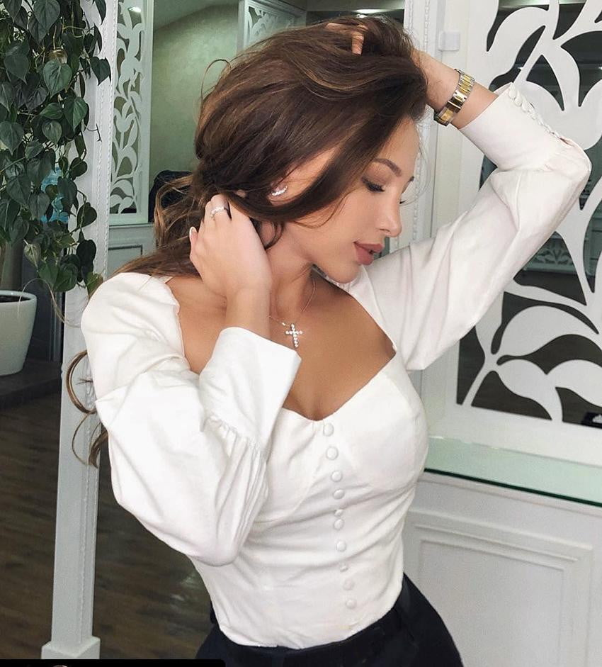 Square Collar White Tunic Blouse - klozetstyle.com