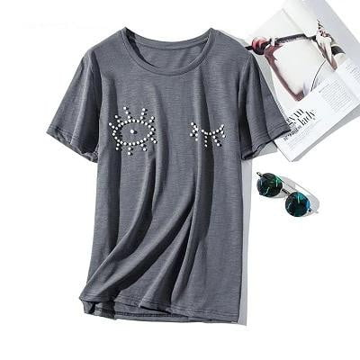 Summer Gray Pearls Cotton Funny Graphics O-Neck Loose Top - klozetstyle.com