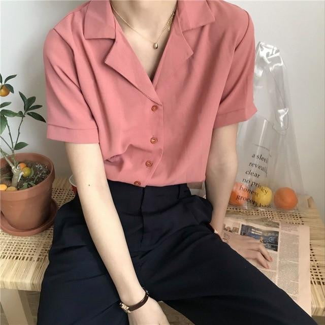 Loose Collar Casual Shirt Blouse - klozetstyle.com