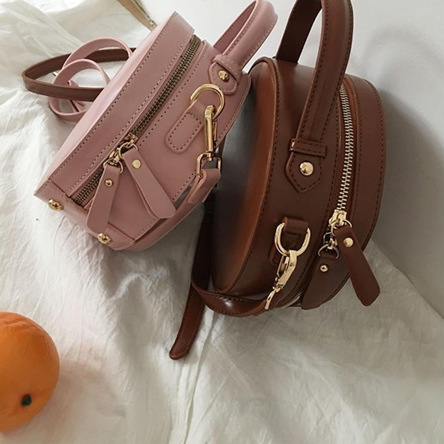 High Quality PU Leather Round Bag - klozetstyle.com