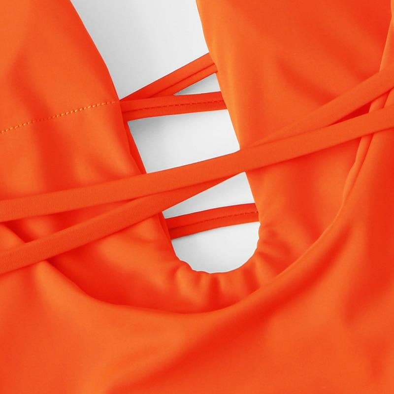 Orange Deep V Neck Backless Lace Up One Piece Swimsuit - klozetstyle.com