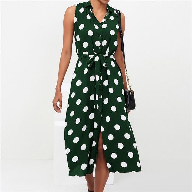 Polka Dot Turn Down Collar Midi Dress - klozetstyle.com