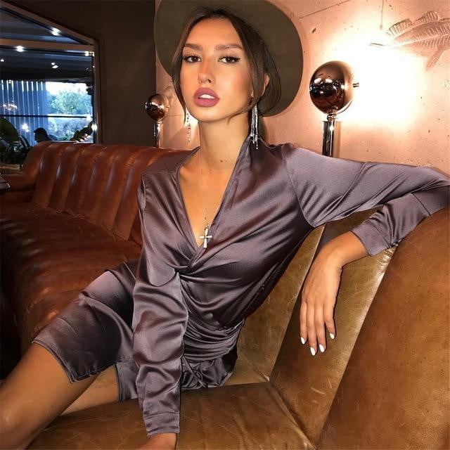 Satin Silk Long Sleeve Midi Dress - klozetstyle.com
