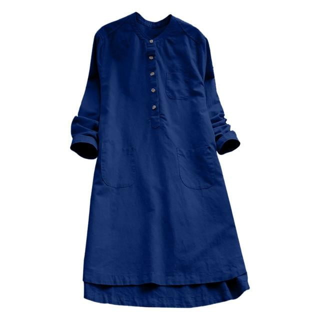 Retro Long Sleeve Casual Loose Dress - klozetstyle.com