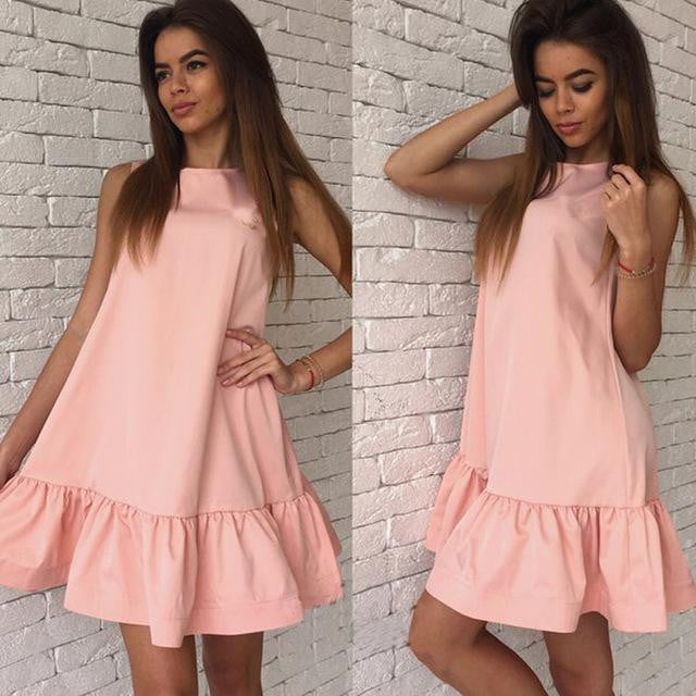 Casual Sleeveless Pleated Mini Dress - klozetstyle.com
