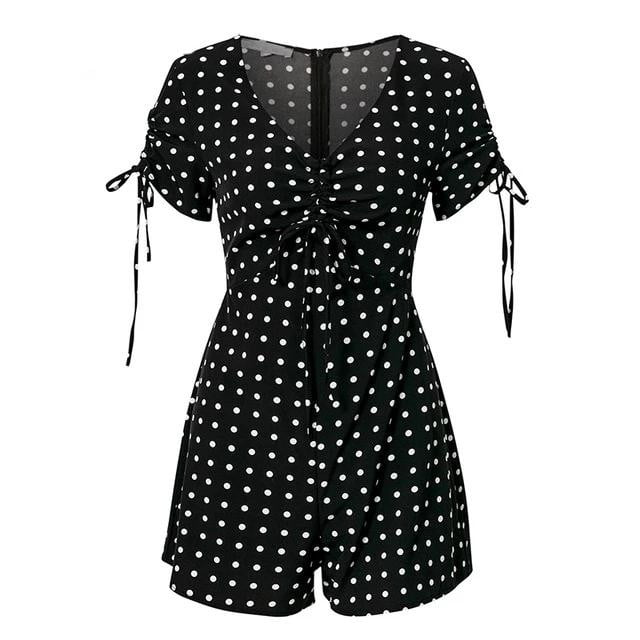Lace Up Casual Summer Red Beach Polka Dot Romper - klozetstyle.com