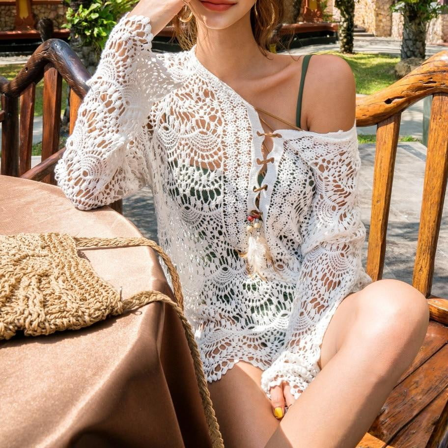 Hollow Pareo Beach Cover Up - klozetstyle.com