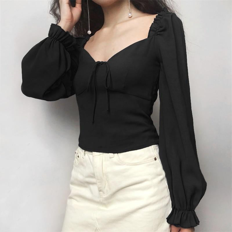 Vintage Sweetheart Neck Blouse Frill Elastic Puff Sleeve Top - klozetstyle.com