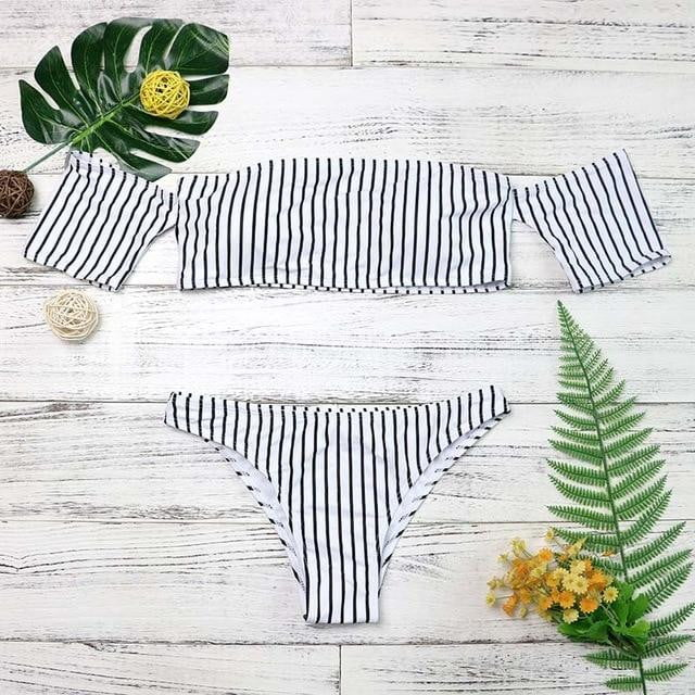 2-Piece Off Shoulder Swimsuit - klozetstyle.com