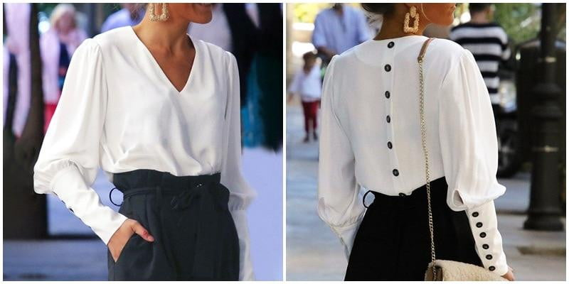 Puff sleeve button white blouse - klozetstyle.com