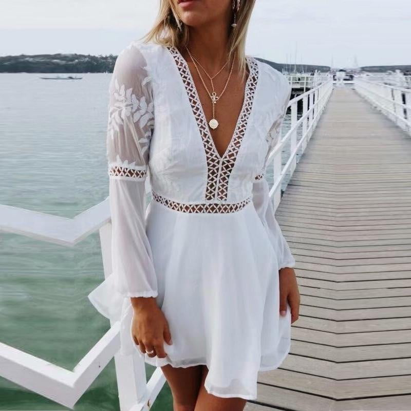 Transparent Long Sleeve backless Hollow Out Lace Boho Floral Dress - klozetstyle.com