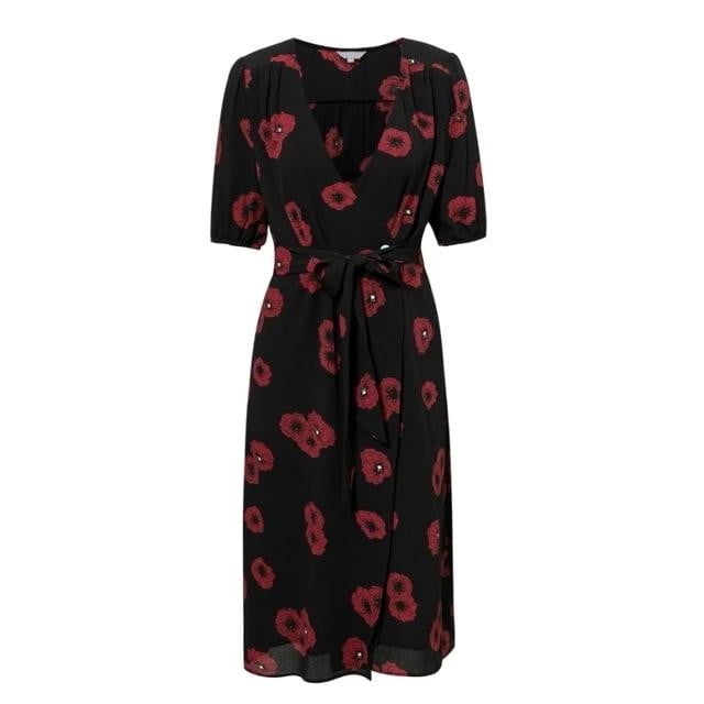 Floral Print Summer V Neck Short Sleeves High Waist Midi Wrap Dress - klozetstyle.com