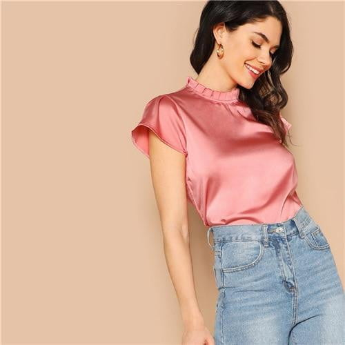 Satin Pleated Frill Neck Solid Top - klozetstyle.com